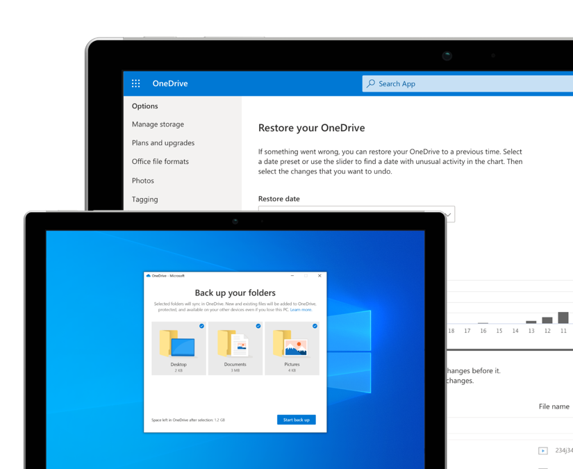 Microsoft OneDrive 365 Two device screens showing backup and restore features in OneDrive.