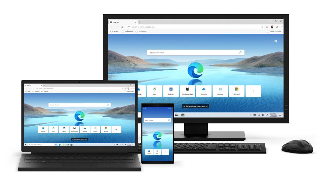 Desktop-, Laptop- und Mobiltelefongeräte mit Edge-Startbildschirm.