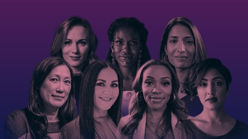 Montage of the 7 female disruptors against a purple background.