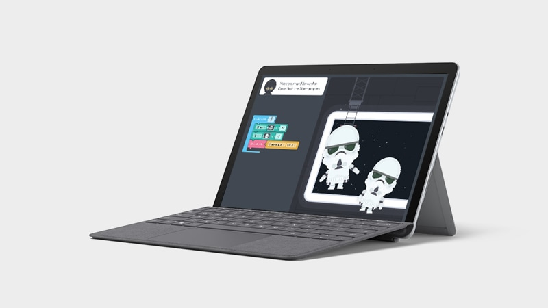 Surface Go 2 en mode portable avec clavier Type Cover affichant Microsoft Word