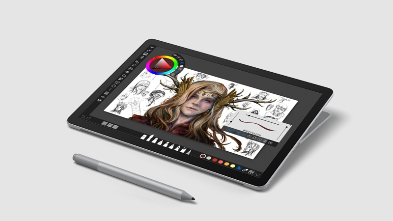 Surface Go 2 in studio mode with Surface Pen showing a learning app