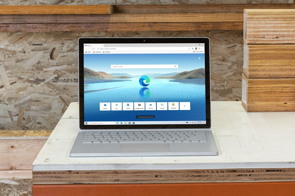 Microsoft Edge geopend op Surface Book 3