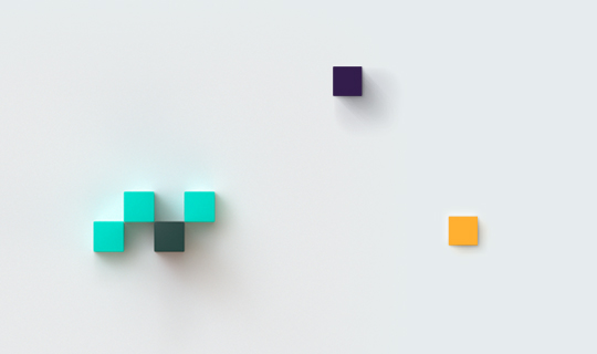 Small scattered boxes in teal, purple, and light orange
