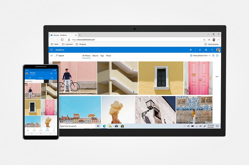 Microsoft OneDrive가 표시된 스마트폰 및 태블릿 화면.