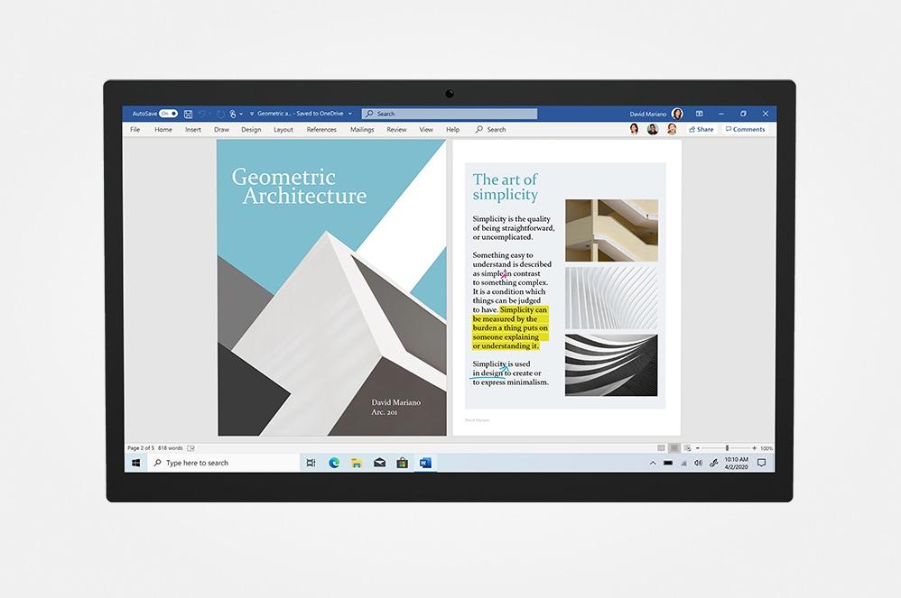 Microsoft OneDrive가 표시된 태블릿 화면.