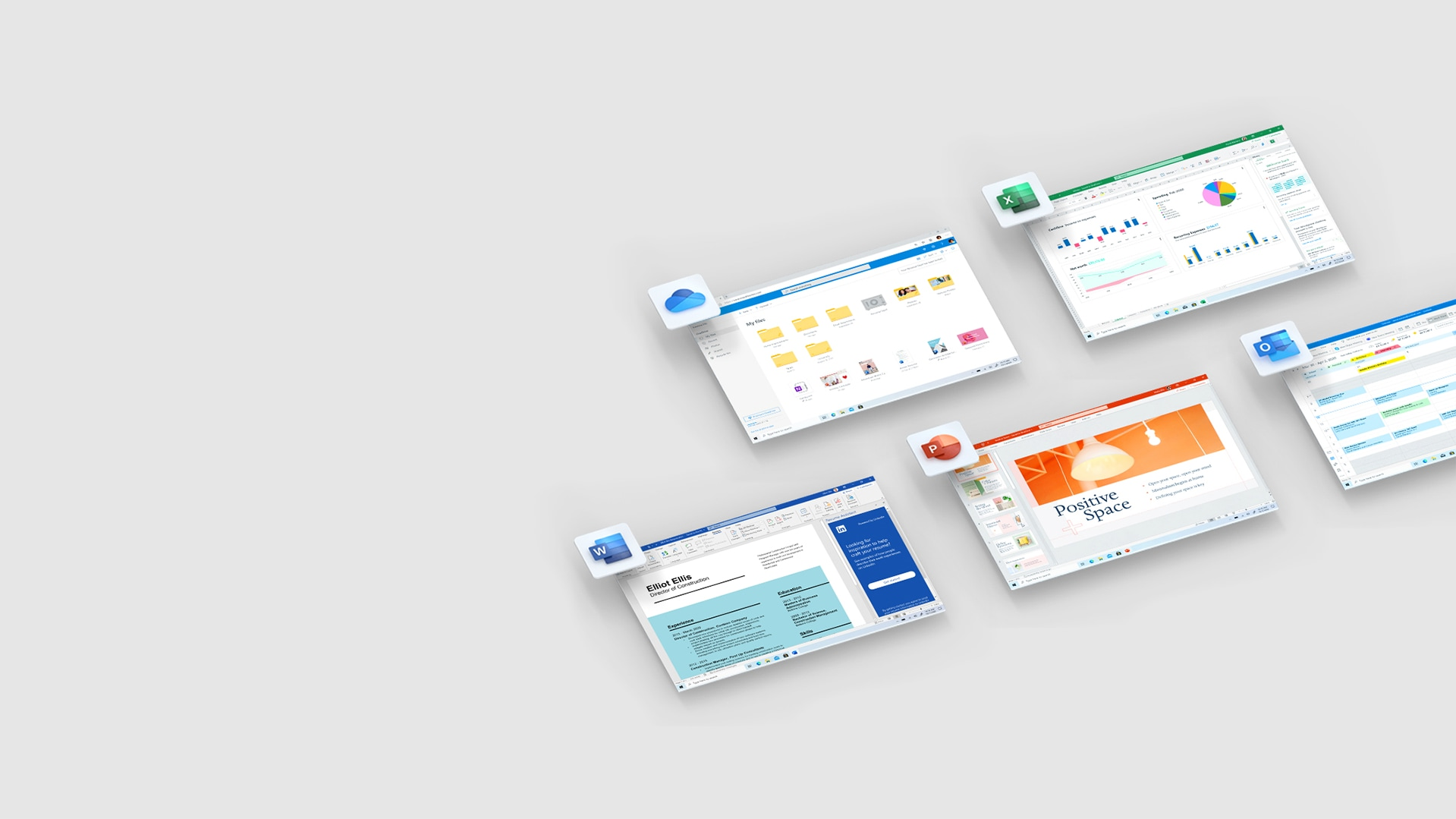 Screenshots von Microsoft OneDrive, Excel, Word, PowerPoint und Outlook.