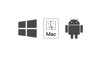 Windows, MacOS, and Android logo.