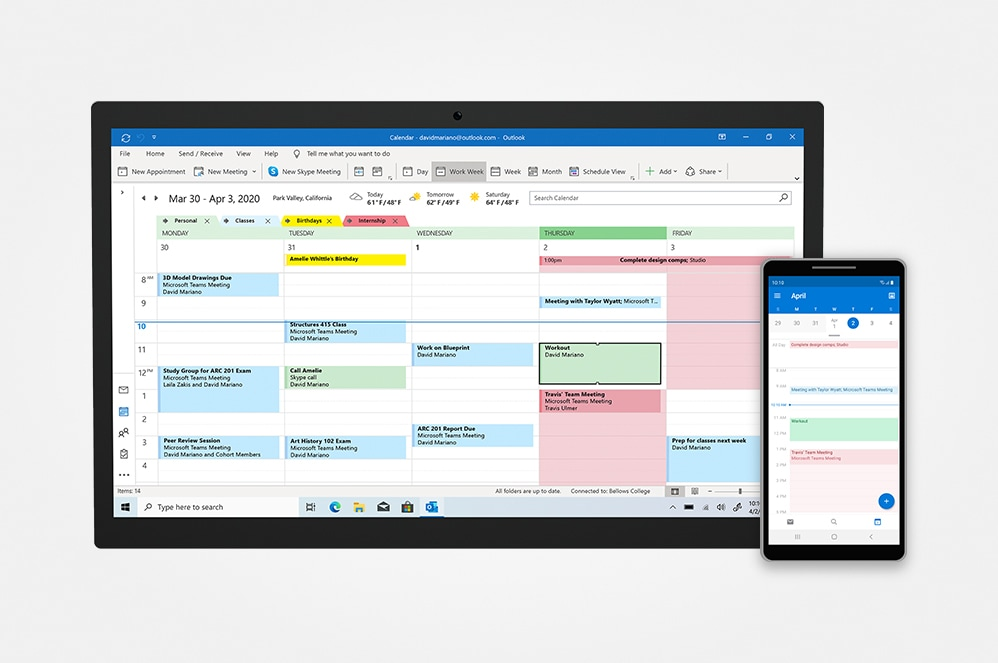 A smartphone and tablet screen displaying Microsoft Outlook calendar view.