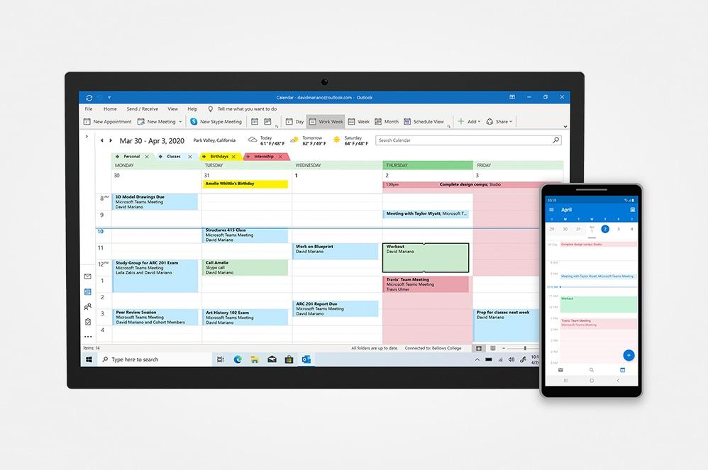 """Išmaniojo telefono ir planšetinio kompiuterio ekranas, kuriame rodomas """"Microsoft Outlook"""" kalendoriaus rodinys."""