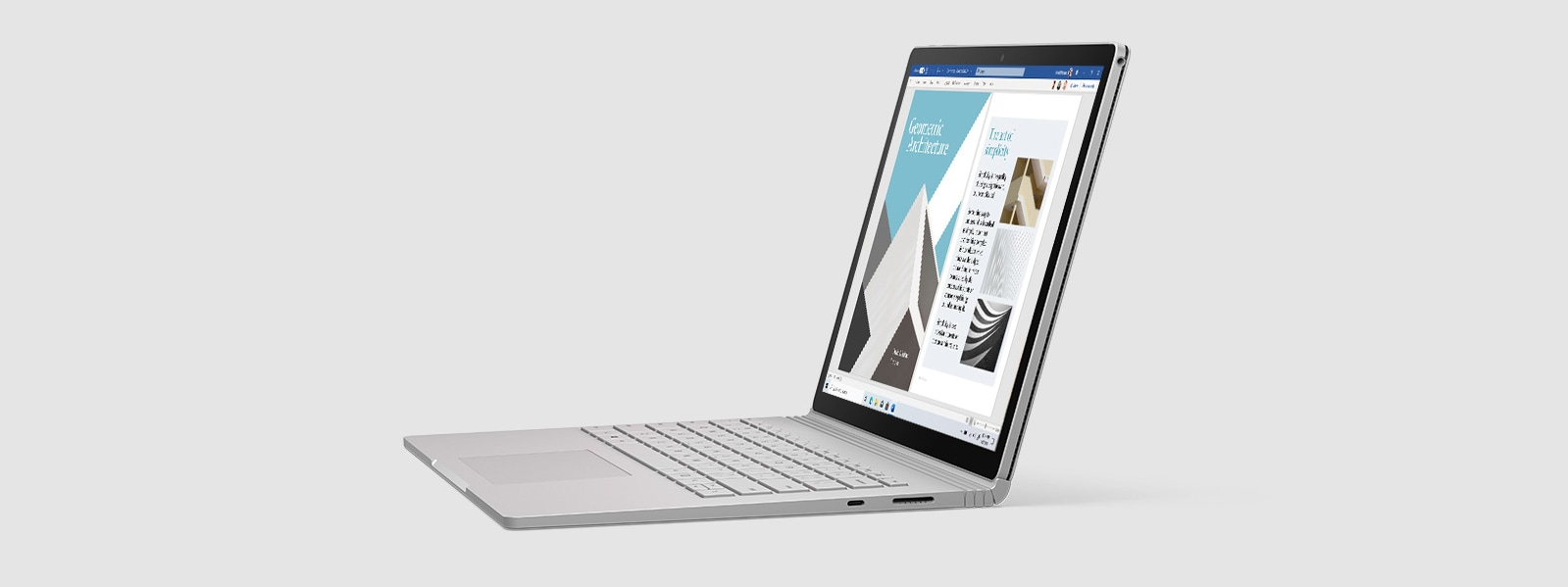 Surface Book 3 as a laptop in a side profile with Word