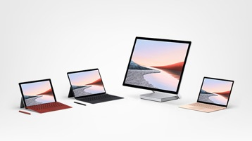 Surface Studio 2, Surface Pro 7, Surface Pro X und Surface Laptop 3 mit Zubehör