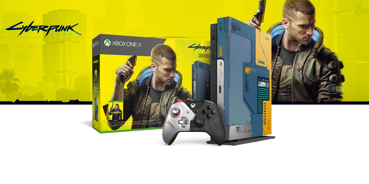Xbox One X console in front of a hardware bundle box featuring Cyberpunk 2077 art