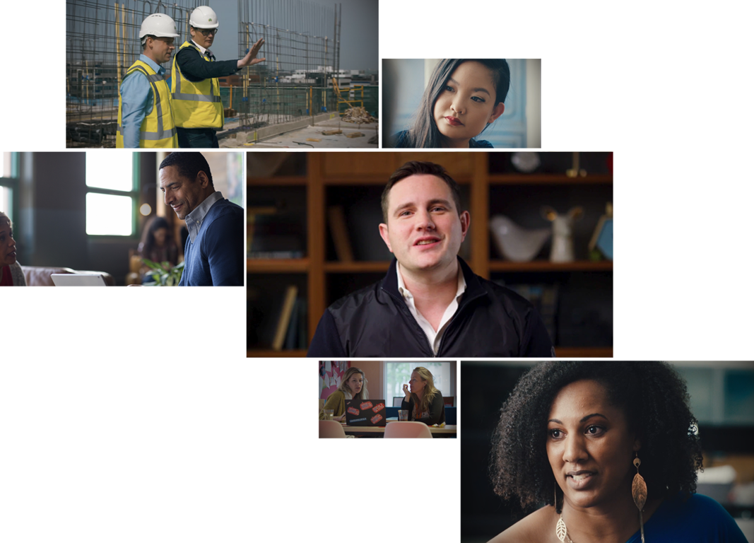 A mosaic of six stacked photos of people in different environments including an outdoor construction site, an office, a classroom, and a home