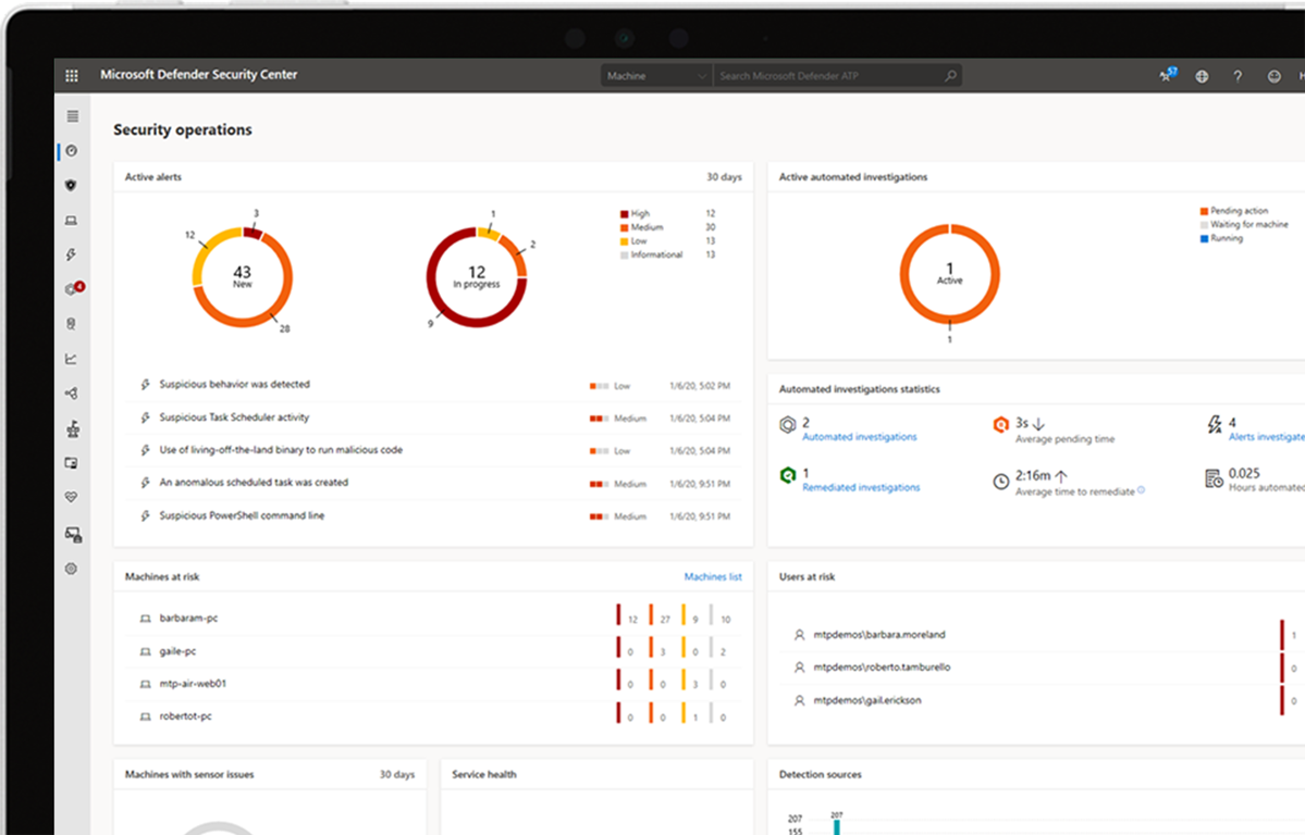 Device screen showing the Microsoft Defender Security Center security operations dashboard