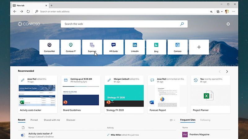 Screenshot of new tab page with Office 365 files and Microsoft Search in Bing.