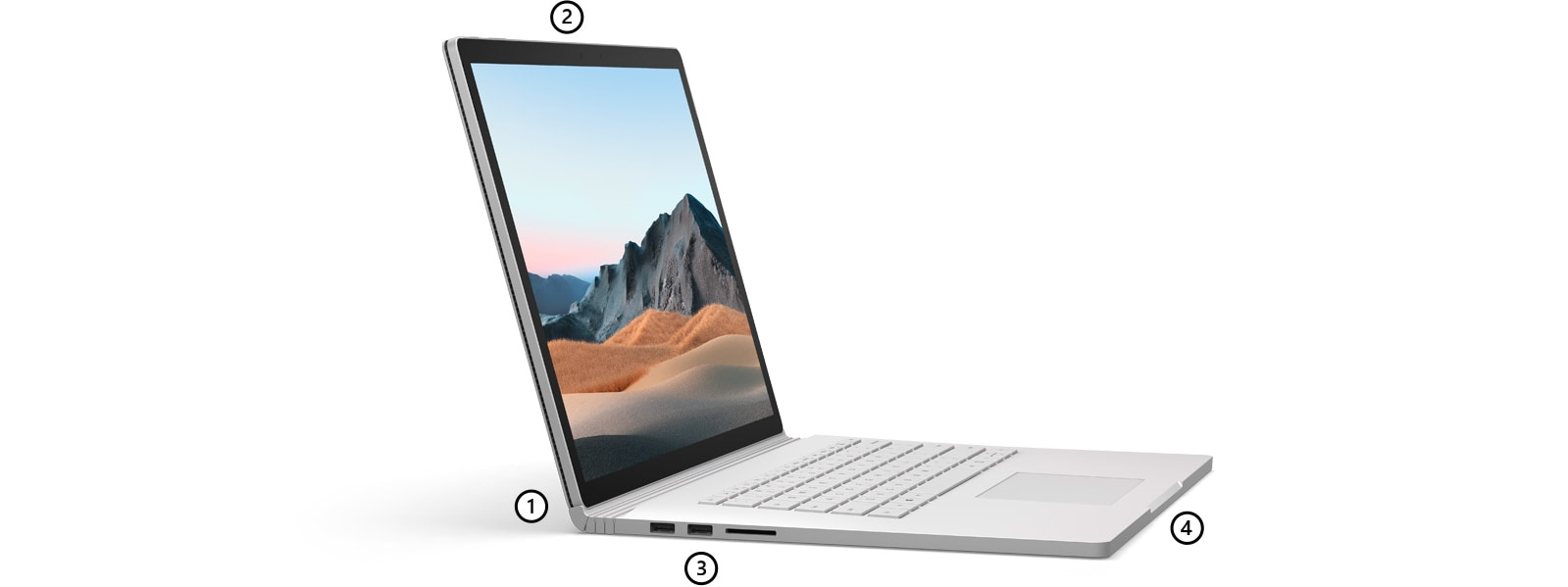Surface Book 3 seen in profile with points highlighting the dynamic fulcrum hinge, microphones, ports and the keyboard