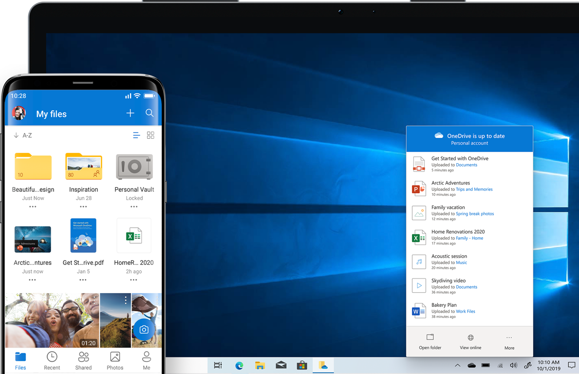 A PC or laptop screen displaying a OneDrive window with folders, files, and photos, and a mobile device displaying shared photos from OneDrive