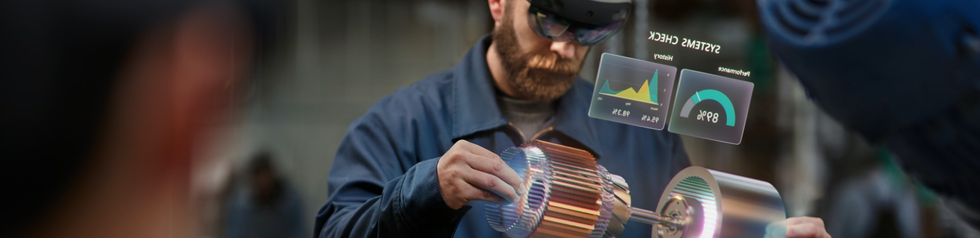 Engineer in a factory using augmented reality goggles to do a system check of a machine component.