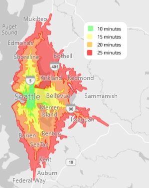 Example isochrone based on travel time