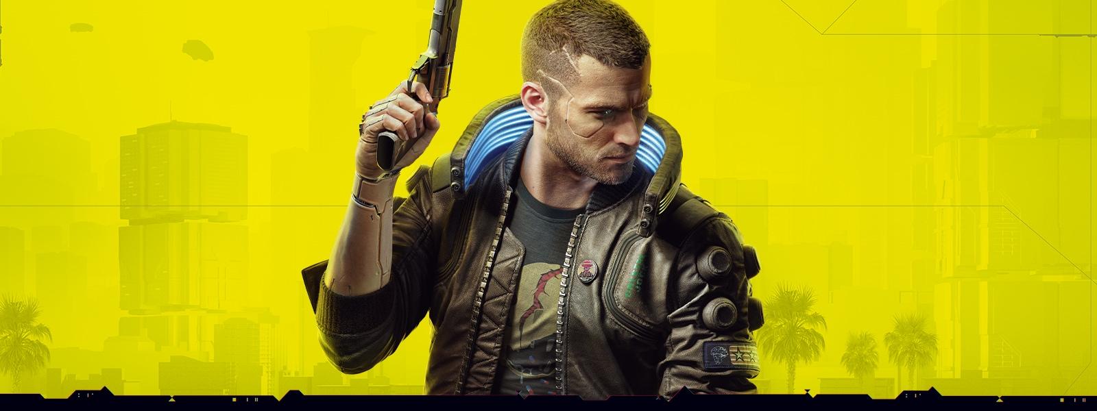 V from cyberpunk 2077 holding up a handgun in the air