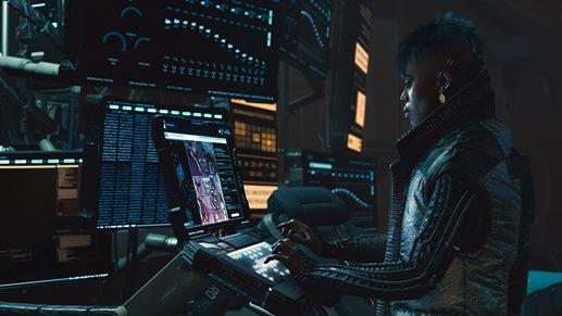 Персонаж на высокотехнологичной компьютерной станции