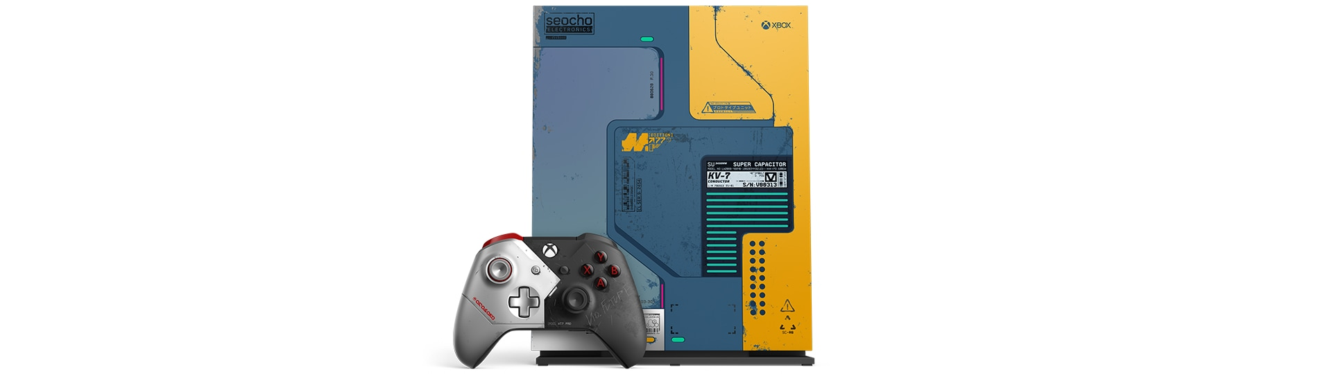 Xbox One X Cyberpunk 2077 Limited Edition console and controller