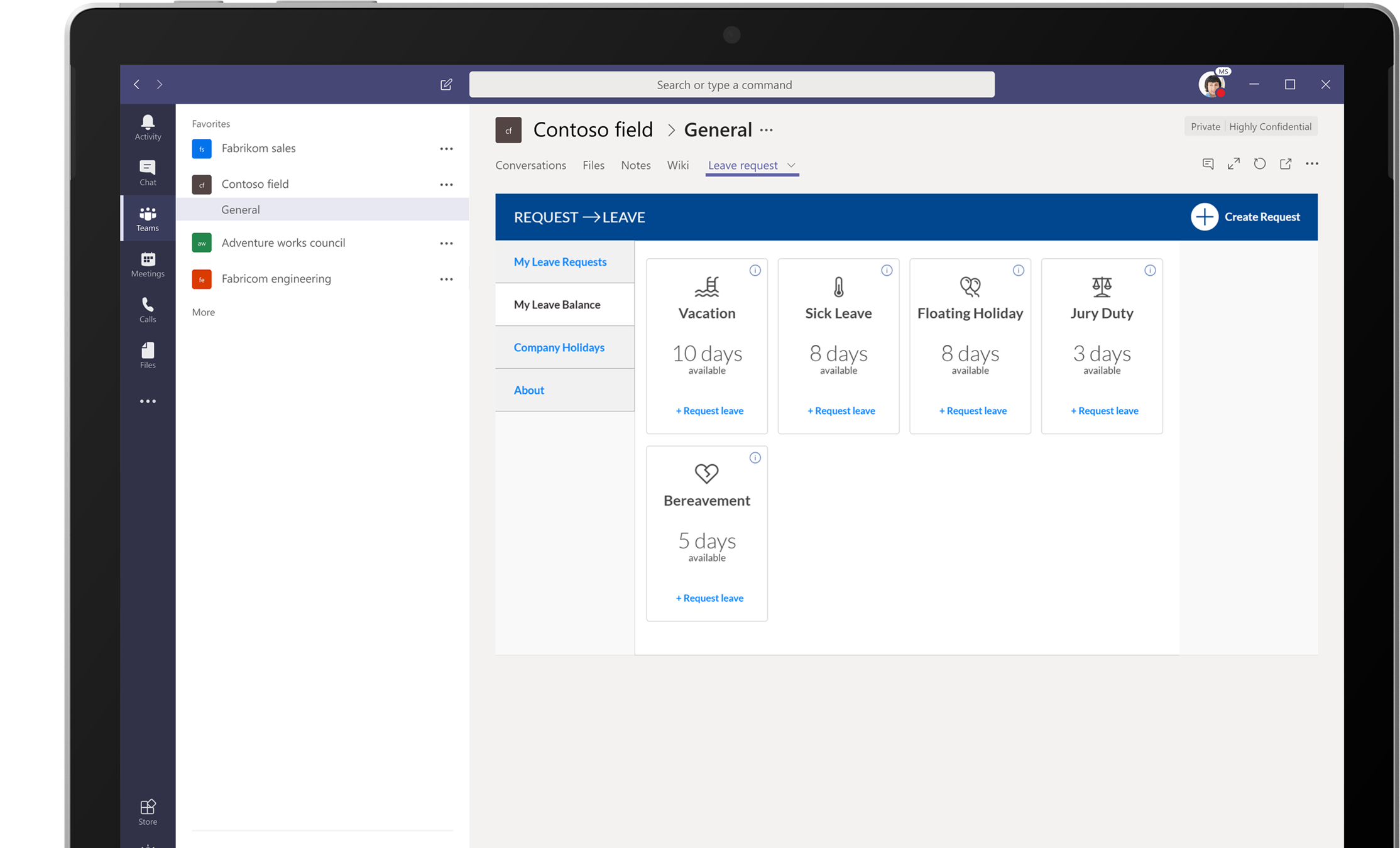 A device screen showing Microsoft Teams