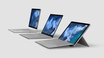 Surface Pro 7 with Surface Laptop 3 and Surface Book 2