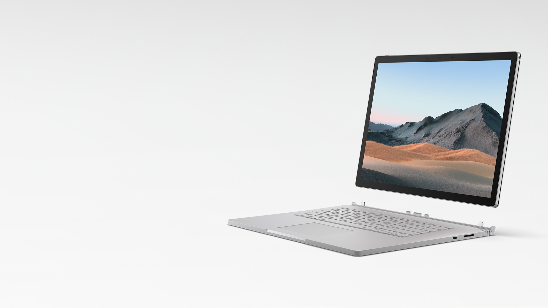 Surface Book 3 in Laptop Mode with the display detached from the keyboard