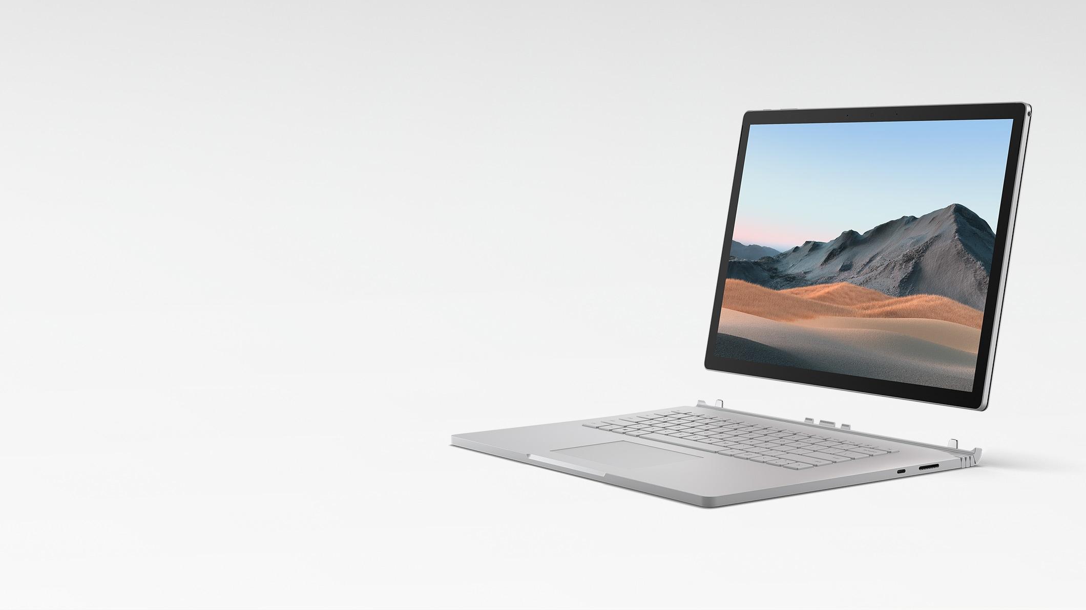 Surface Book 3 en mode ordinateur portable avec l'écran détaché du clavier