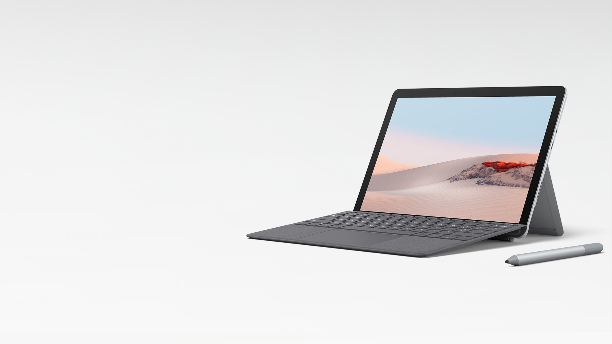 Surface Go 2 in Laptop Mode with Surface Go Signature Type Cover in Platinum