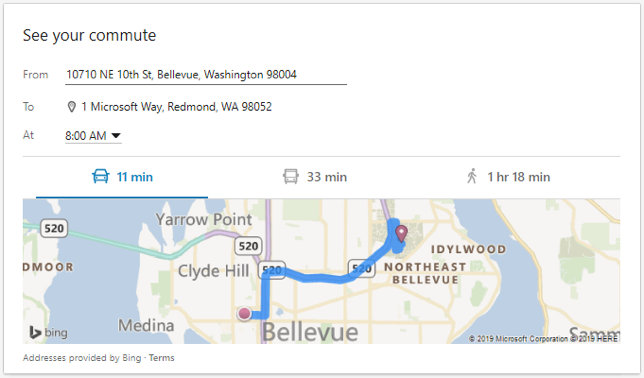 Example commute calculation on LinkedIn