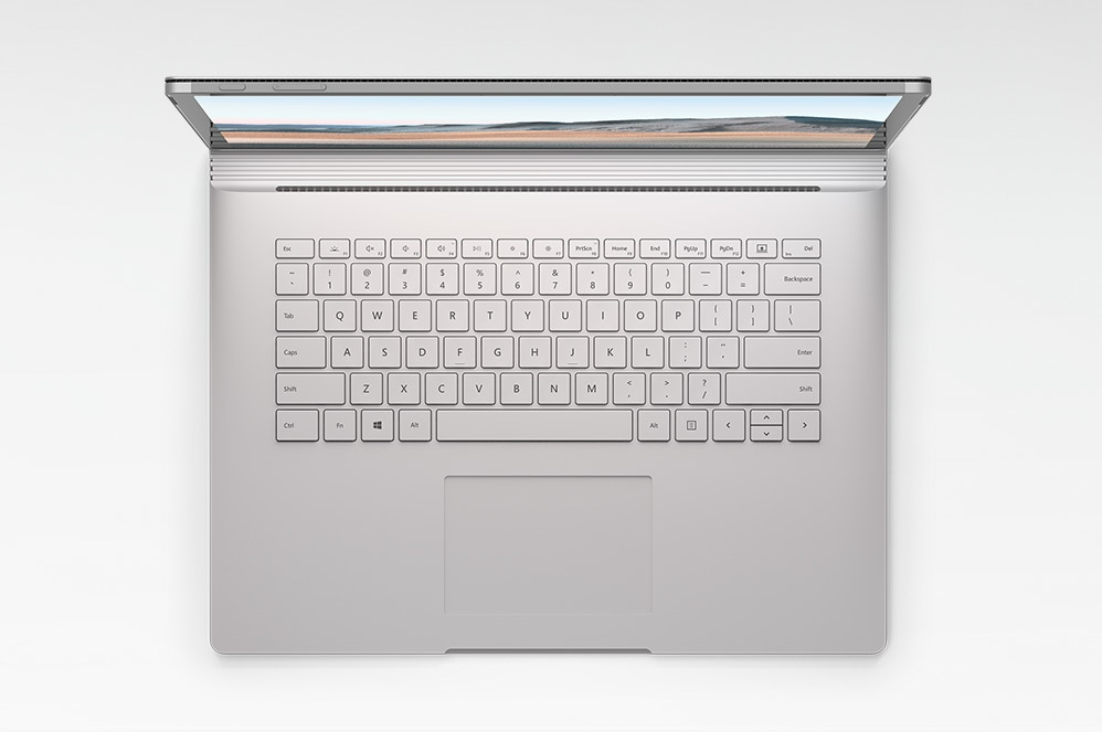 Surface Book 3 in Laptop Mode looking down on the keyboard