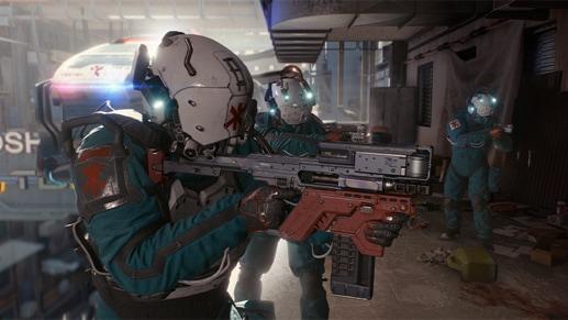 Группа медиков с оружием на краю здания