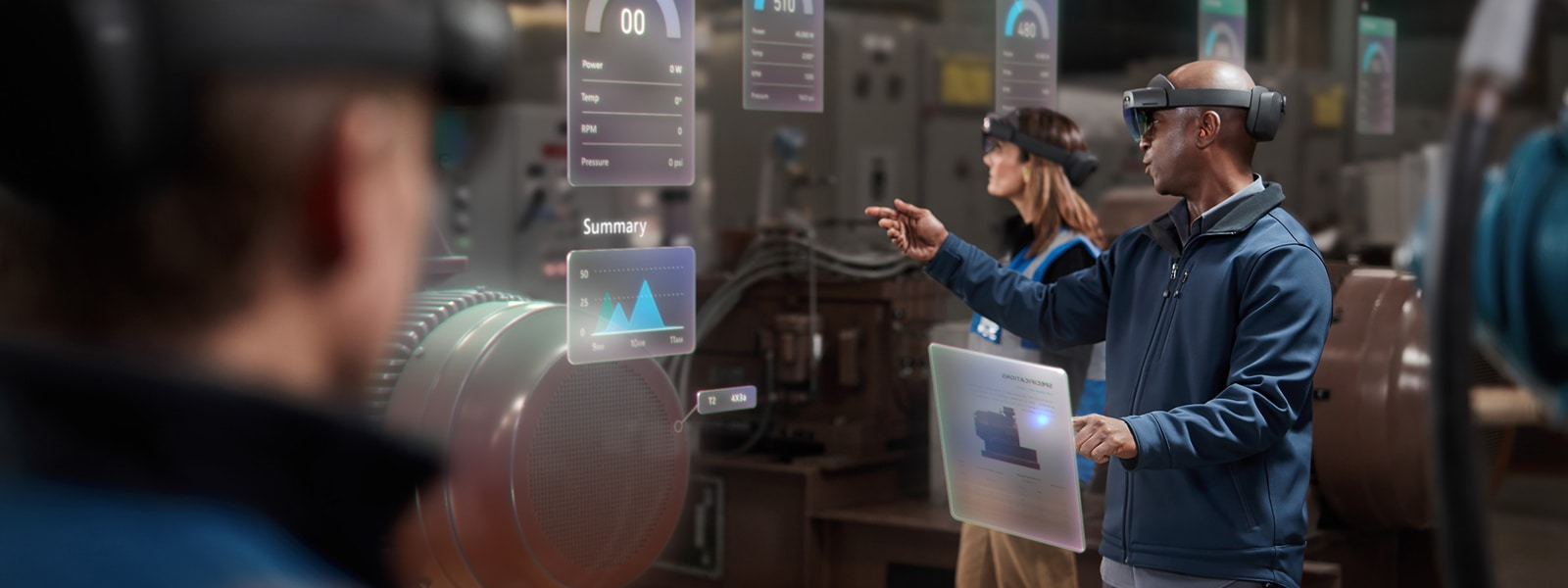 A couple of technicians using HoloLens glasses and A.I. technology to work.