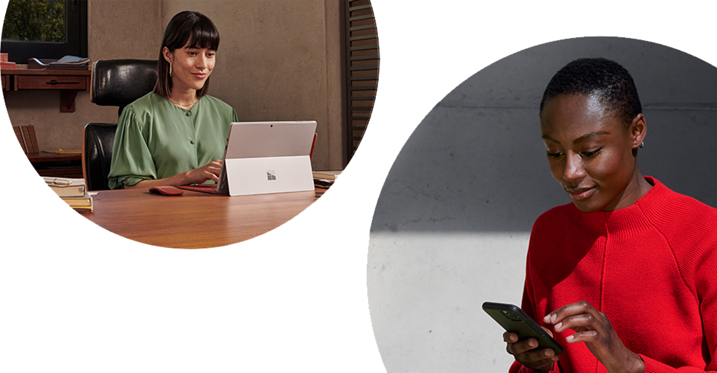Two separate circular photographs on a white background to express two people connecting while in different locations. One is sitting at a desk in an office working on a Microsoft Surface, the other is standing outside using a mobile device.