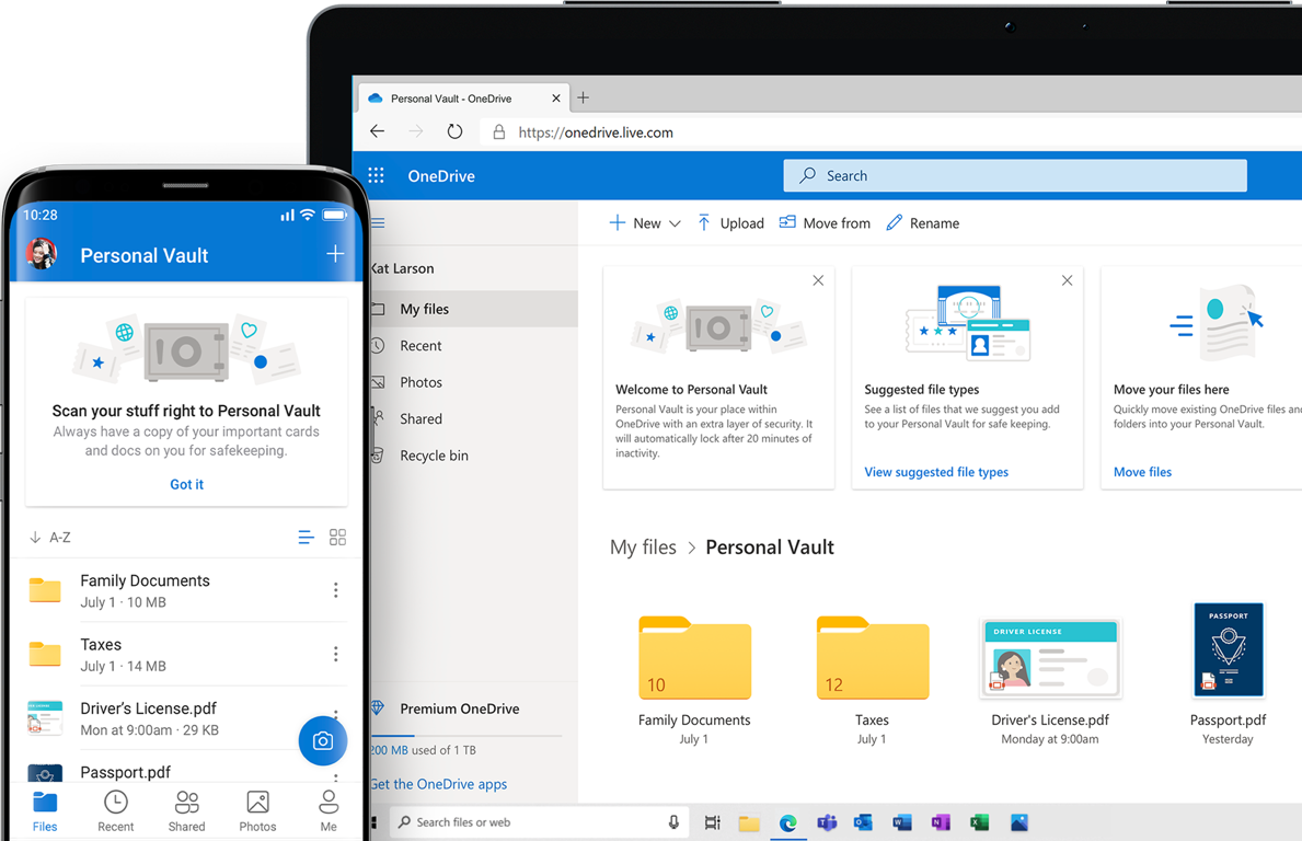 Phone and tablet showing OneDrive Personal Vault
