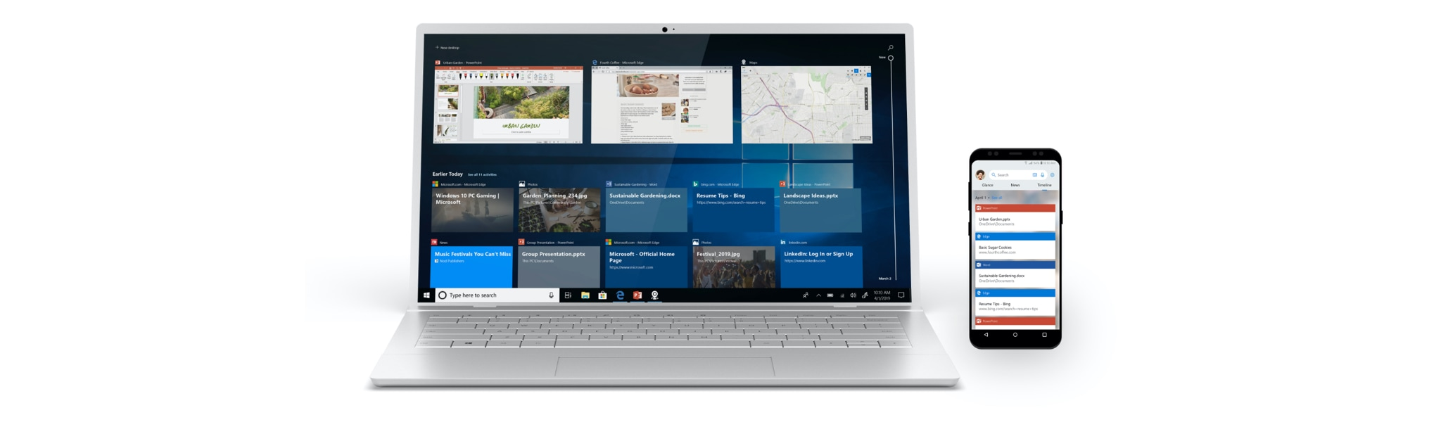 A laptop and phone showing Windows Timeline on the screens