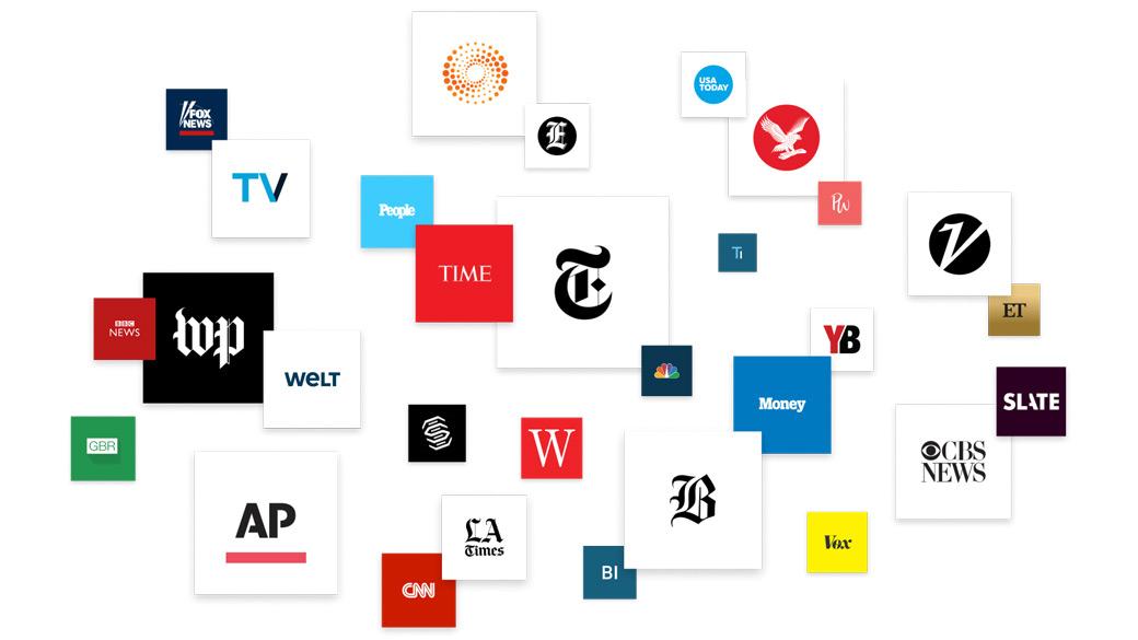 Plus de 20logos d'organes de presse internationaux