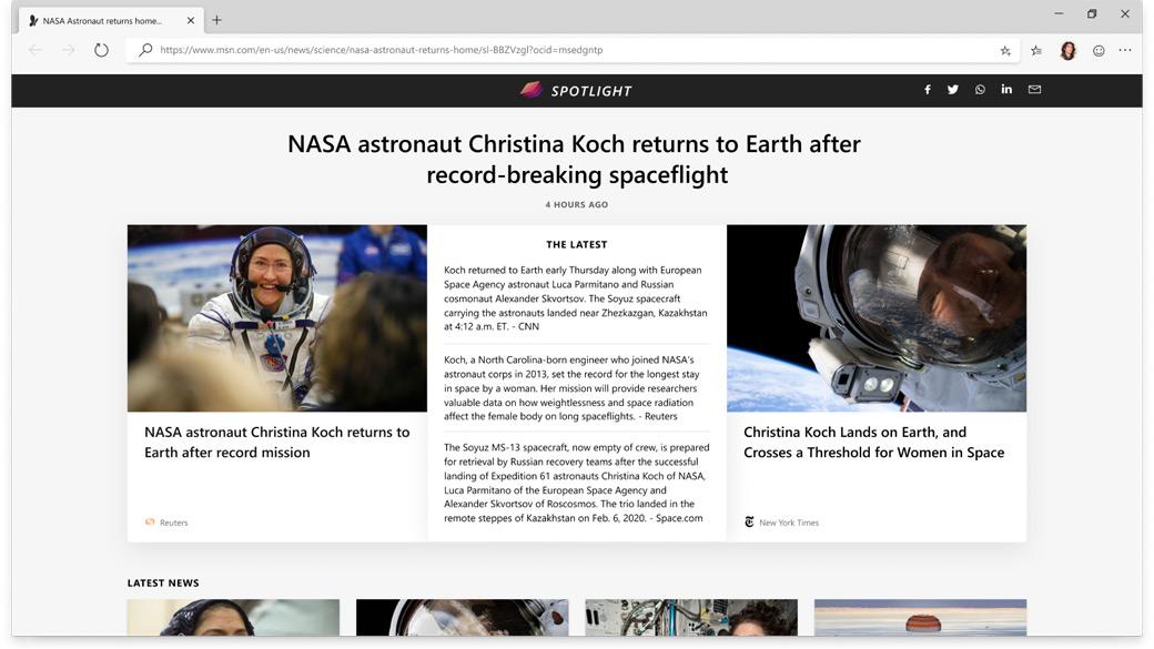 Zprávy o kosmonautech NASA na portálu Microsoft News