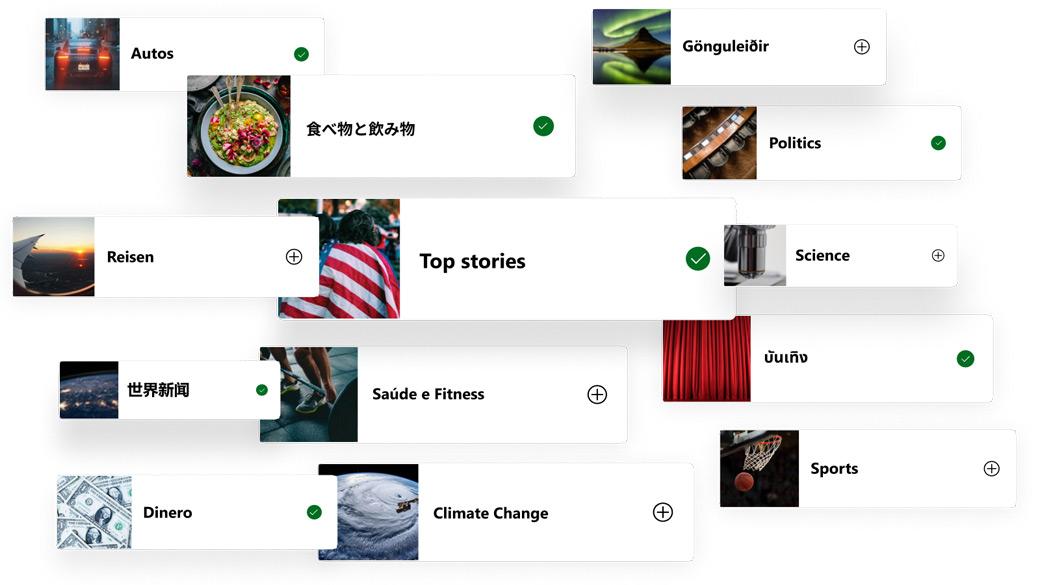 Bild und Überschrift von Themen in verschiedenen Sprachen