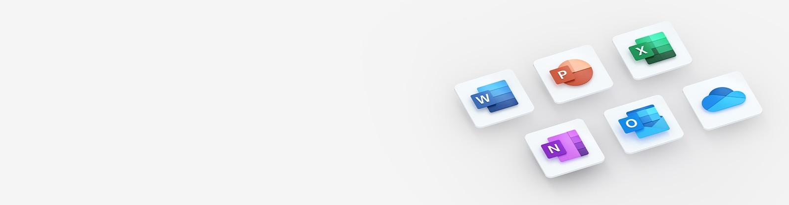 グレーの背景に Microsoft Word、PowerPoint、Excel、OneNote、Outlook、および OneDrive のロゴ。
