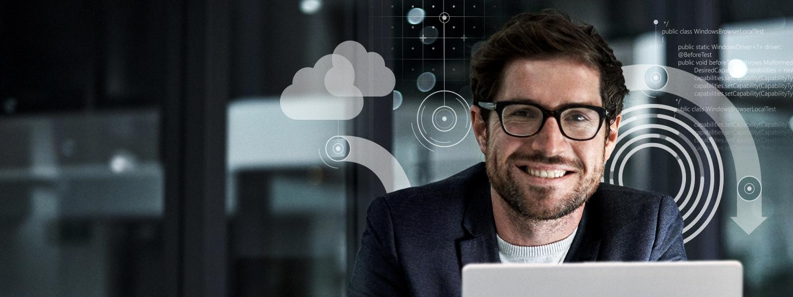 Hombre sonriente rodeado de ilustraciones tecnológicas