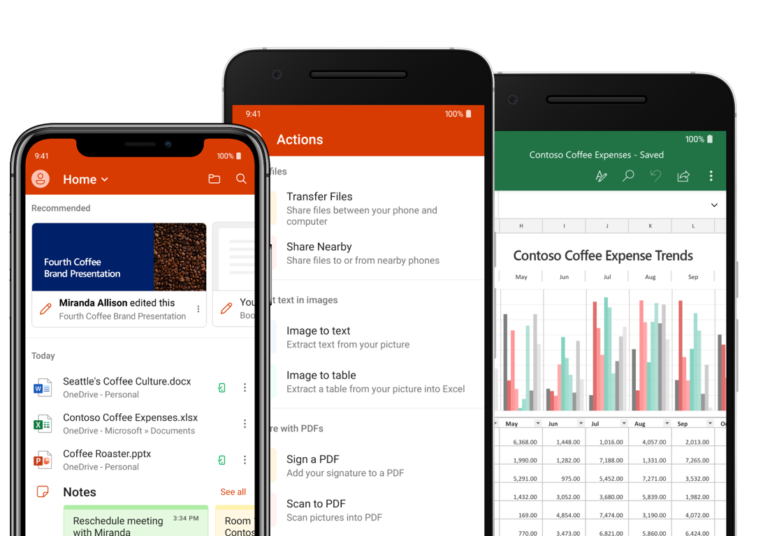 The Microsft office app combines the Word, Excel, and PowerPoint apps on the Android smartphones available in google play store