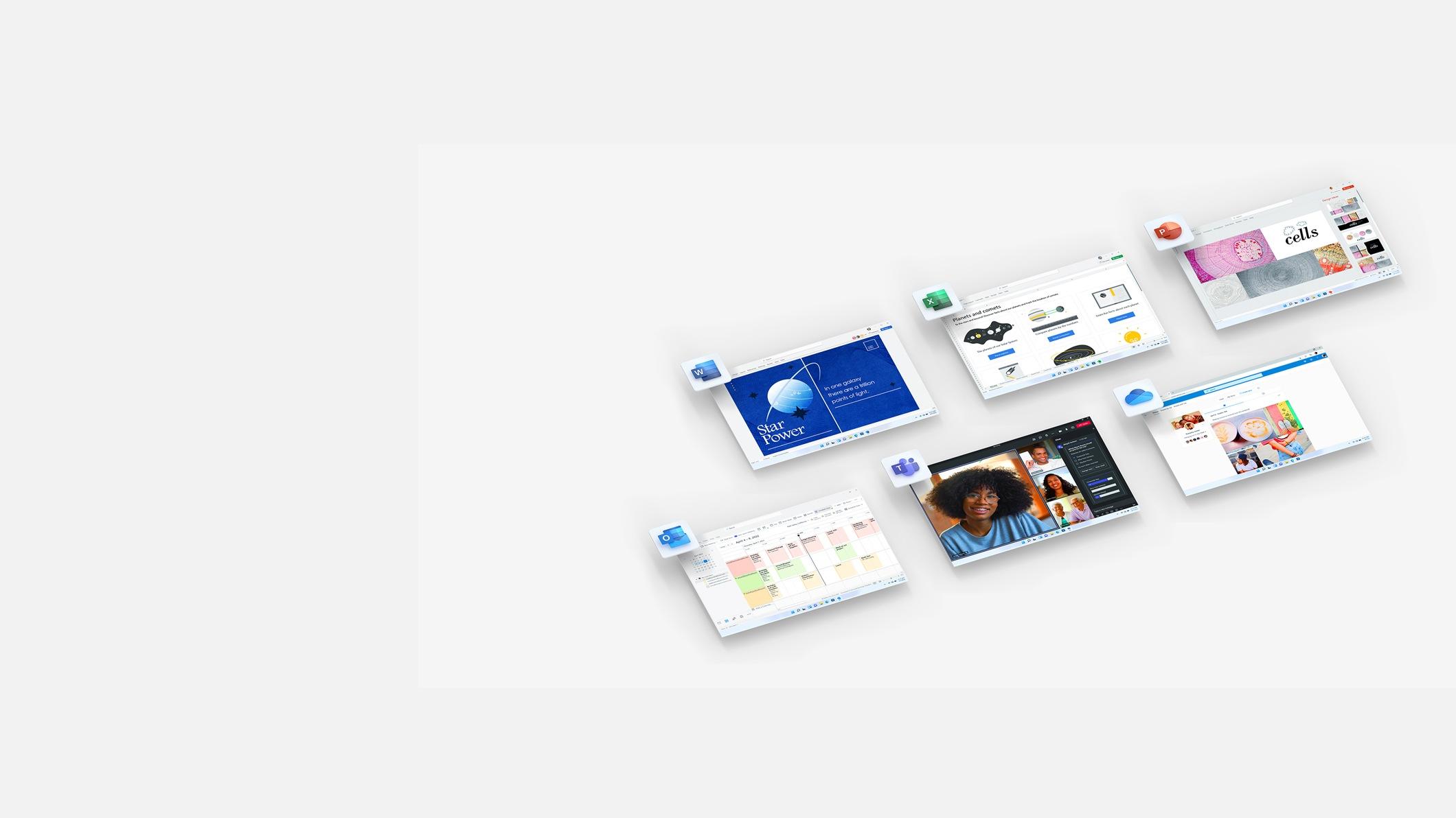 Снимки экрана Microsoft OneDrive, Excel, Word, PowerPoint и Outlook.