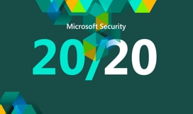 Microsoft Security 20/20 logo and multicolored hexagons