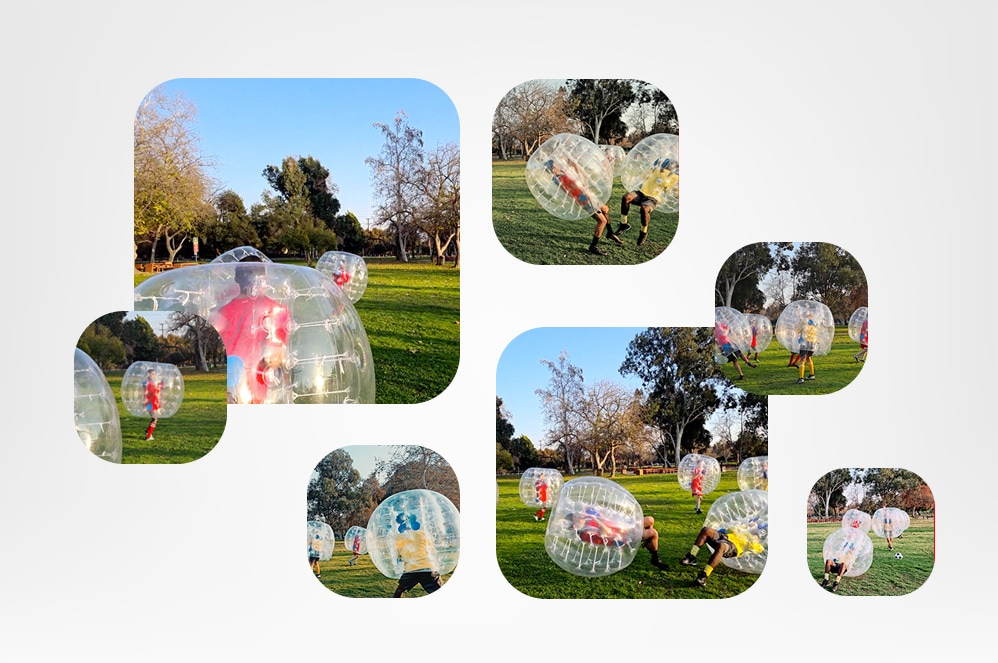 Bubbles with photos of kids playing in the yard