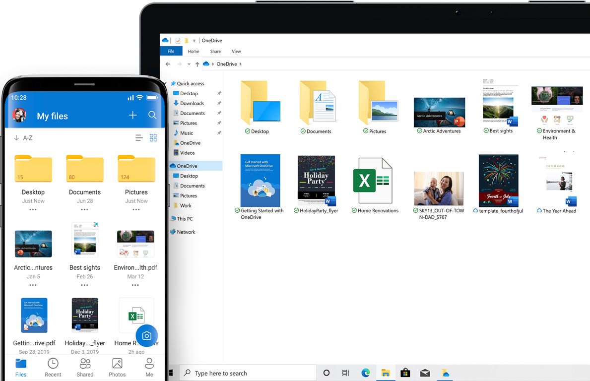 A tablet and a phone screen showing files and folders in OneDrive