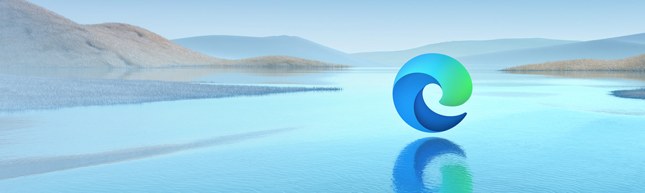 A landscape with the Microsoft Edge logo hovering over water.