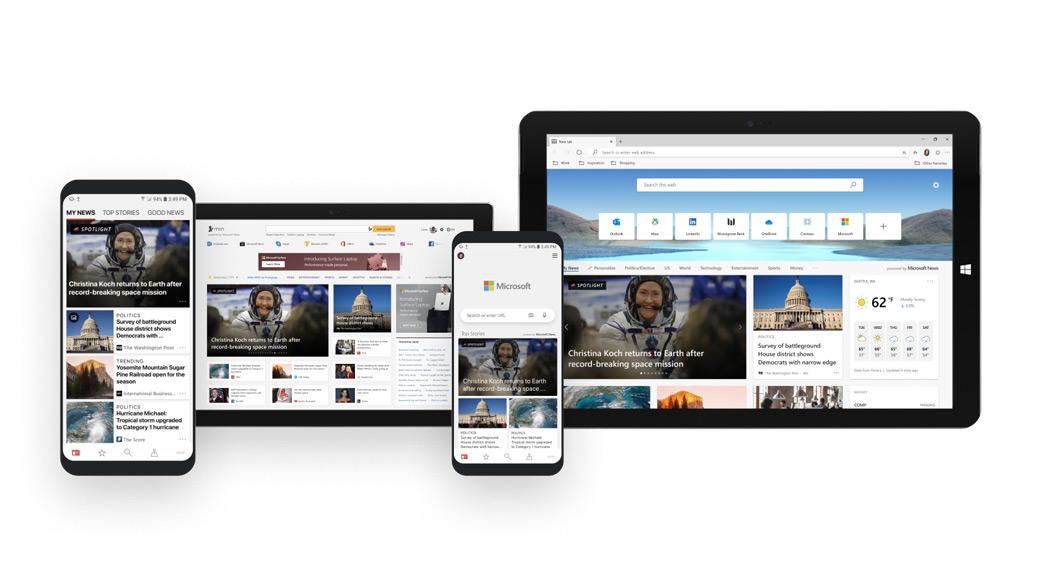 Různé telefony a tablety, na kterých je spuštěná aplikace Microsoft News